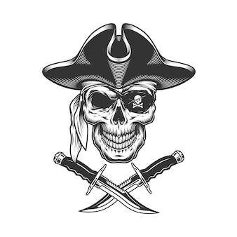 Crâne de pirate monochrome