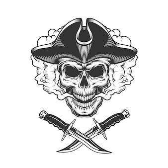 Crâne de pirate vintage dans un nuage de fumée