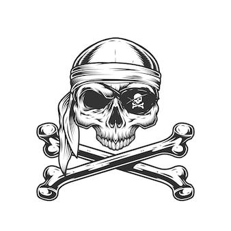 Crâne de pirate vintage sans mâchoire