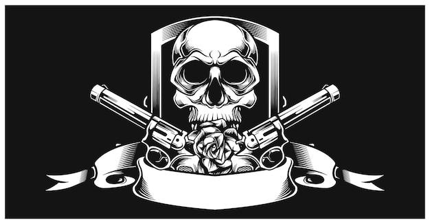 Crâne avec pistolet à gauche et à droite