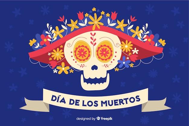 Crâne plat pour día de muertos background