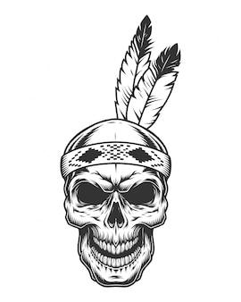 Crâne avec plume indienne
