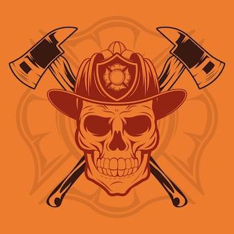 Crâne de pompier avec casque et haches