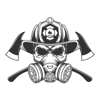 Crâne de pompier monochrome vintage