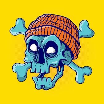 Crâne portant bonnet avec os croisés en illustration