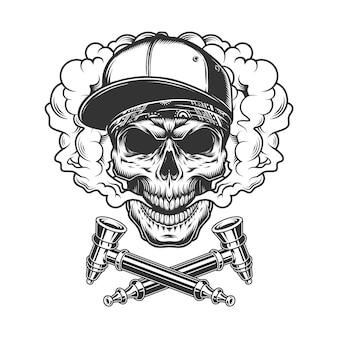 Crâne portant une casquette de baseball et un bandana