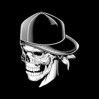 Crâne portant casquette, dessin à la main isolé,