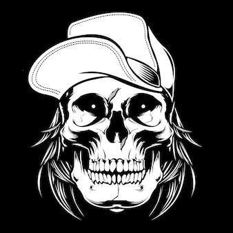 Crâne portant une casquette.