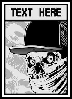 Crâne portant chapeau et bandana