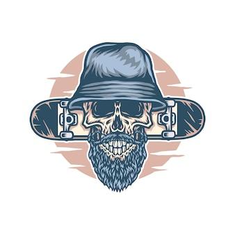 Crâne portant un chapeau seau avec planche à roulettes
