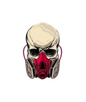 Crâne portant un masque à gaz