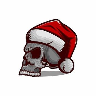 Crâne portant le vecteur de chapeau de noël