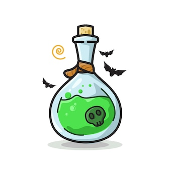 Crâne potion bouteille halloween mignon ligne art illustration
