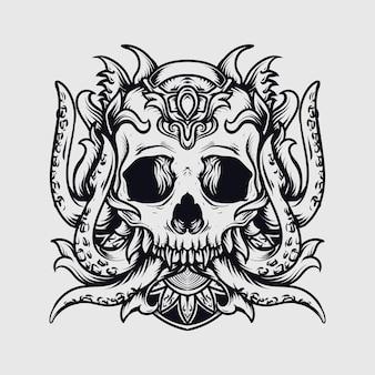Crâne de poulpe illustration dessiné à la main noir et blanc