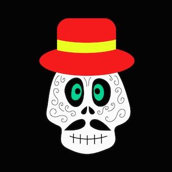 Crâne pour le jour des morts vecteur d'halloween