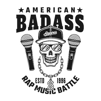 Crâne de rappeur et texte emblème de vecteur de badass américain, insigne, étiquette ou logo dans un style monochrome vintage isolé sur fond blanc