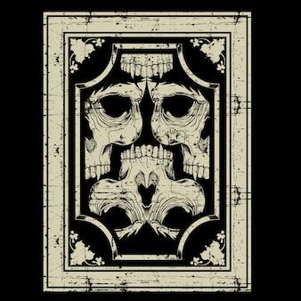 Crâne rétro, vintage, dessin à la main en détail
