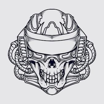 Crâne de robot illustration dessiné à la main noir et blanc