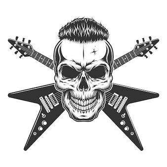 Crâne De Rockstar Avec Une Coiffure Tendance Vecteur gratuit