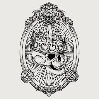 Crâne de roi dessiné à la main avec ornement floral cadre ovale