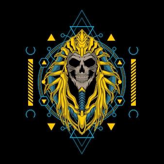 Crâne roi d'egypte avec une géométrie sacrée
