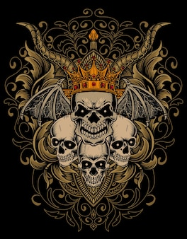 Crâne de roi illustration avec ornement de gravure vintage