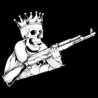 Crâne roi manipulant des armes