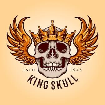 Crâne de roi avec mascotte logo volant illustrations