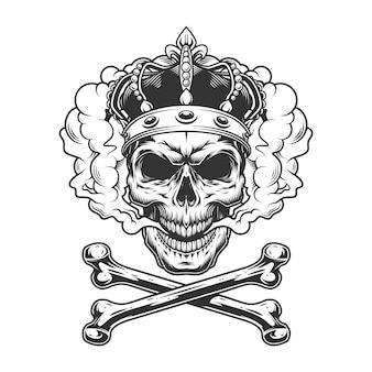 Crâne de roi monochrome vintage portant une couronne