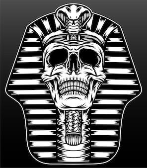 Crâne de roi pharaon isolé sur noir