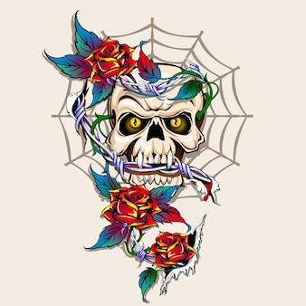 Crâne et roses