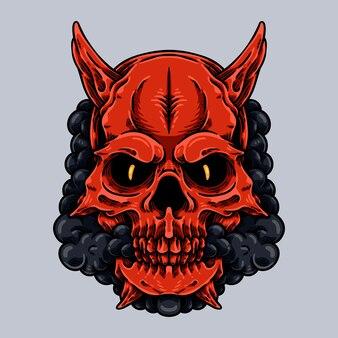 Crâne rouge avec caractère de corne