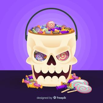 Crâne sac d'halloween au design plat