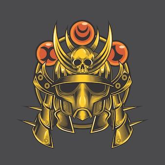 Crâne de samouraï doré