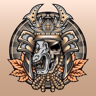 Crâne de samouraï avec feuille d'érable.