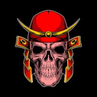 Crâne de samouraï rouge