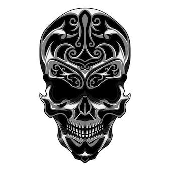Crâne avec sculpture florale