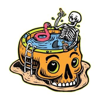 Crâne se détendre dans l'illustration de l'art de la piscine du crâne