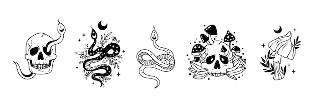 Crâne de serpent floral céleste de paquet d'halloween mystique avec des cliparts de lune et d'étoiles de champignons