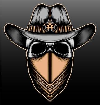 Crâne de shérif avec bandana dessiné à la main