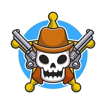 Crâne de shérif mignon avec illustration de dessin animé de pistolet. style de bande dessinée plat