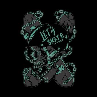 Crâne skateboard horreur illustration graphique art