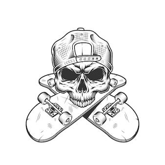 Crâne de skateur sans mâchoire