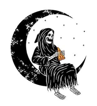 Crâne sombre sur la lune