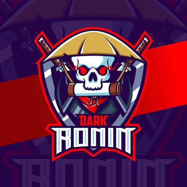 Crâne sombre ronin mascotte esport logo design