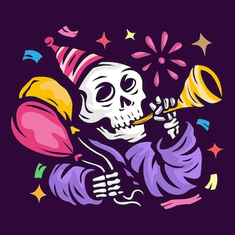 Le crâne souffle la trompette et tient le ballon célèbre la bonne année