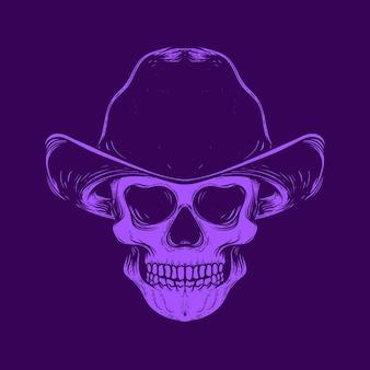 Crâne souriant avec chapeau