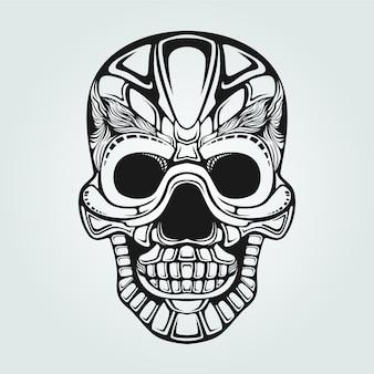 Crâne souriant décoratif dessin au trait noir et blanc