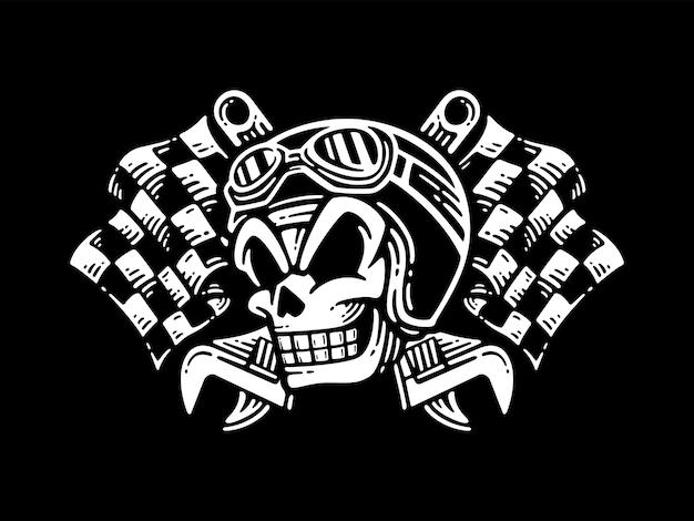 Crâne de sourire portant un casque avec une clé croisée et des drapeaux à damier