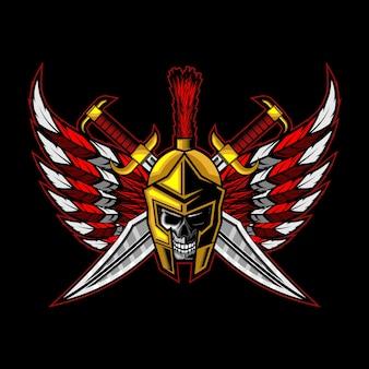 Crâne spartiate croix épée avec des ailes